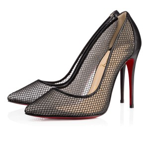 Christian Louboutin Lace Fishnet Classic Point-toe Black Pumps