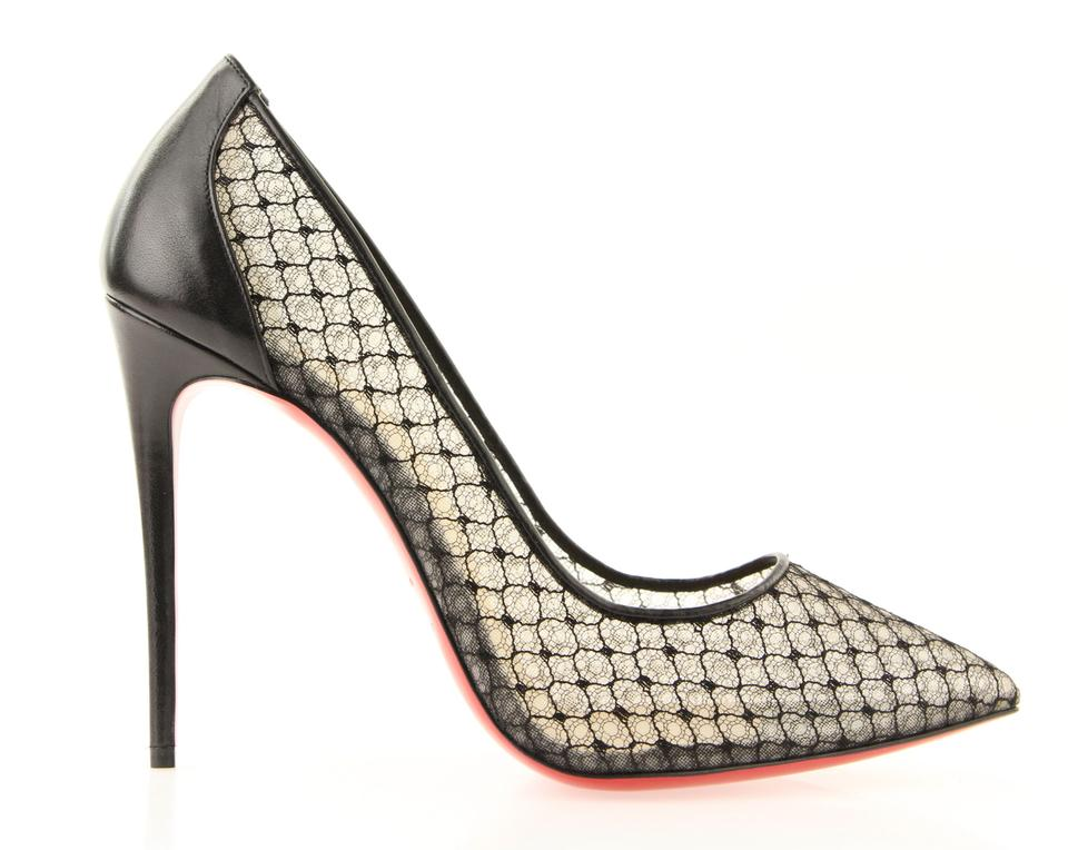 Christian Louboutin Black Follies Lace 100 Pumps Size EU 40 (Approx ... 05af2db99
