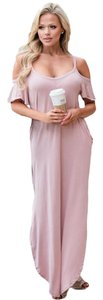 Pink Maxi Dress by other Maxi Open Shoulder