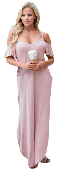 Preload https://img-static.tradesy.com/item/21646289/pink-open-shoulder-long-casual-maxi-dress-size-12-l-0-1-650-650.jpg