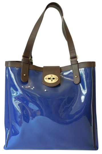 Boden Patent Tote in blue Image 0