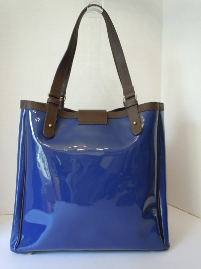 Boden Patent Tote in blue Image 3