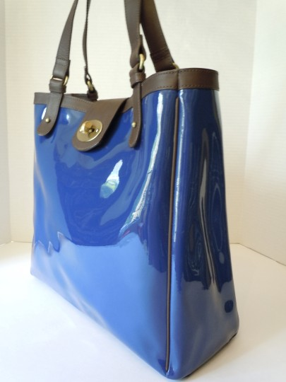 Boden Patent Tote in blue Image 4
