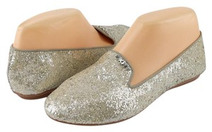 DKNY Gold Silver Loafers Glitter Platinum Flats