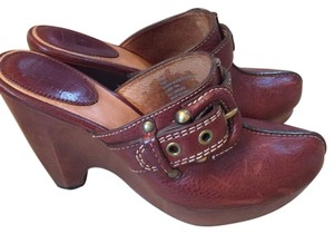 Frye Wedge Leather Rust Mules