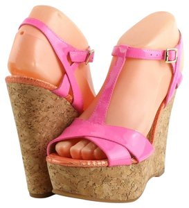 Juicy Couture Patent Plarform Open Toe Pink Wedges