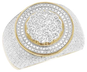 Jewelry Unlimited Men's 10K Yellow Gold Genuine Diamond Round Cluster Pinky Ring 2.5 Cr
