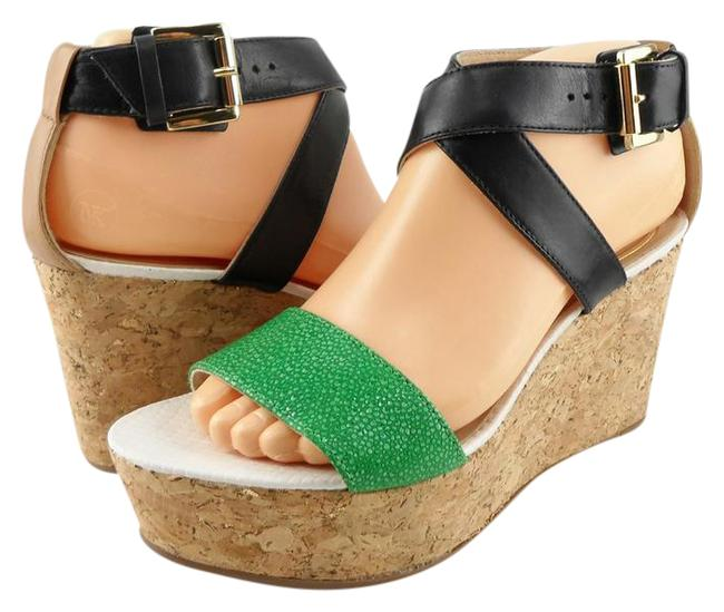 Item - Green / Black / Caramel Forrest Malachite Open Platform Wedges Size US 6.5 Regular (M, B)