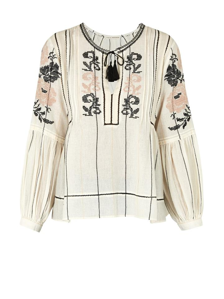 Ulla Johnson Flora Embroidered Top Ivory ...