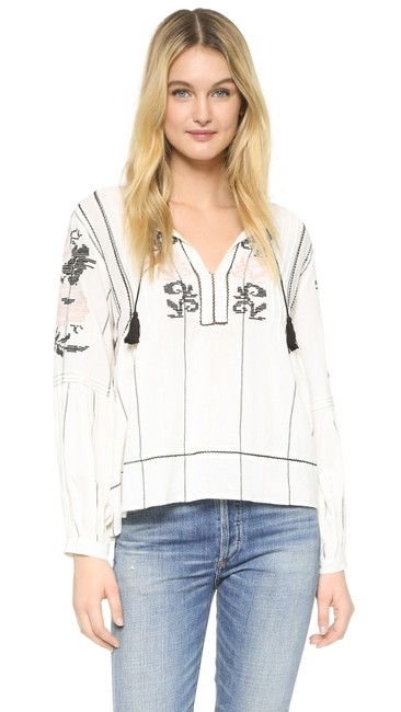 Ulla Johnson Flora Embroidered Top Ivory