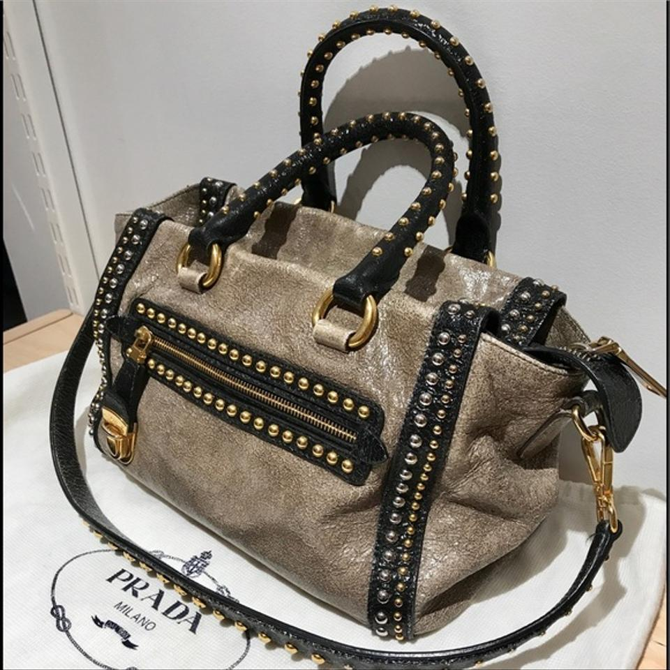 View fullscreen  quality design f992a a157d Prada Calf Leather Glace Studded  Shoulder Tote in Gold. f5367be5e1116