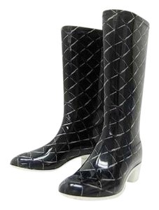 Chanel Jumbo Quilted Cambon Espadrille Rainboot Black Boots
