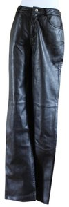 Siena Studio Sleek Leather Elegant Sexy Skinny Pants Black
