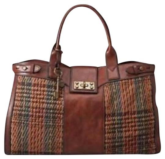 Preload https://img-static.tradesy.com/item/21647896/fossil-vintage-re-issue-russet-collection-brown-multi-leather-tweed-satchel-0-1-540-540.jpg