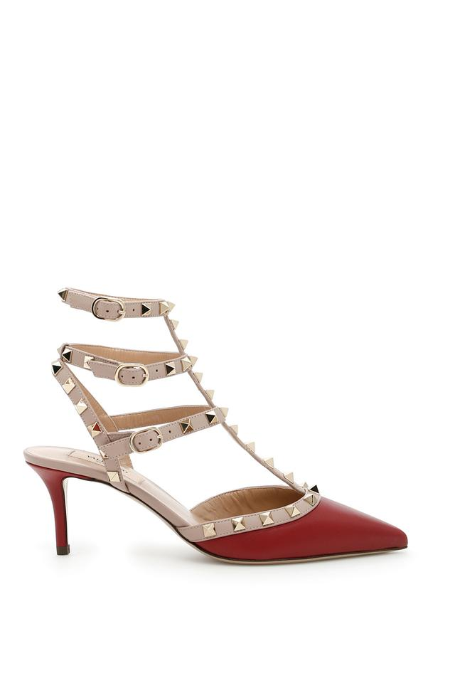 valentino rockstud ankle strap leather kitten heels red eu 37 ruby pumps on sale 28 off. Black Bedroom Furniture Sets. Home Design Ideas