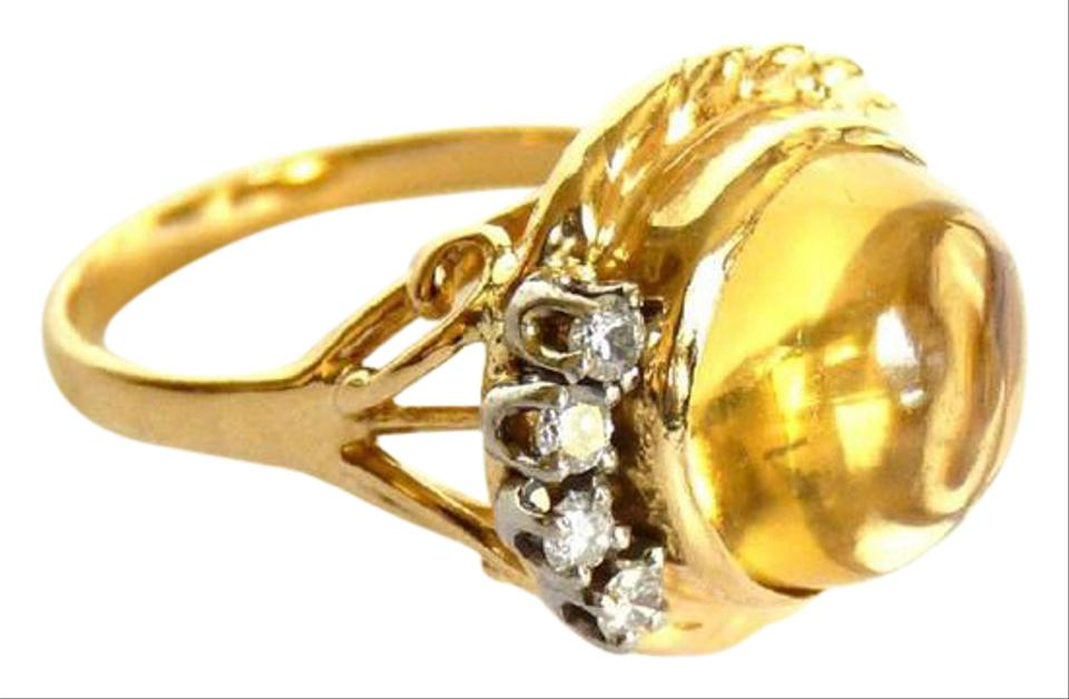Yellow Gold One Of A Kind Topaz And Diamond 14k With Large Diamonds Ring 72 Off Retail