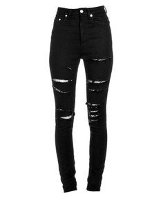 Saint Laurent Fishnet Distressed Denim Skinny Jeans-Distressed