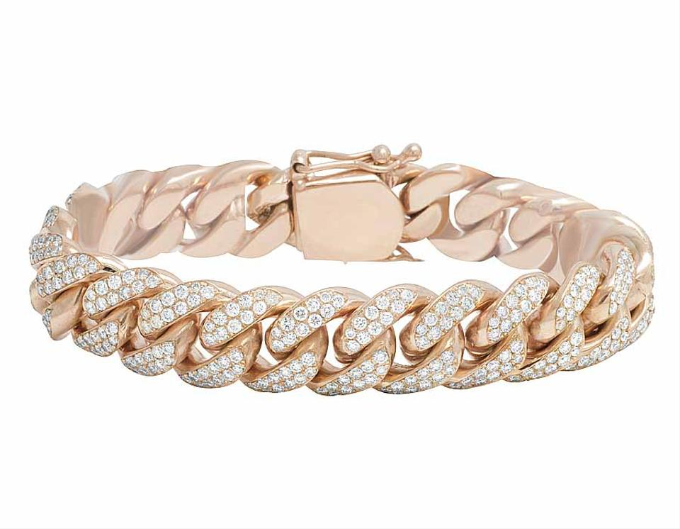 Jewelry Unlimited 10k Rose Gold Miami Cuban Real Diamond Bracelet 9 1 2 Ct 14mm