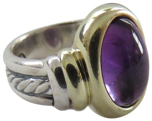 David Yurman Oval Collection 12x9mm North/South Cabochon Amethyst SS/14k, 5.75