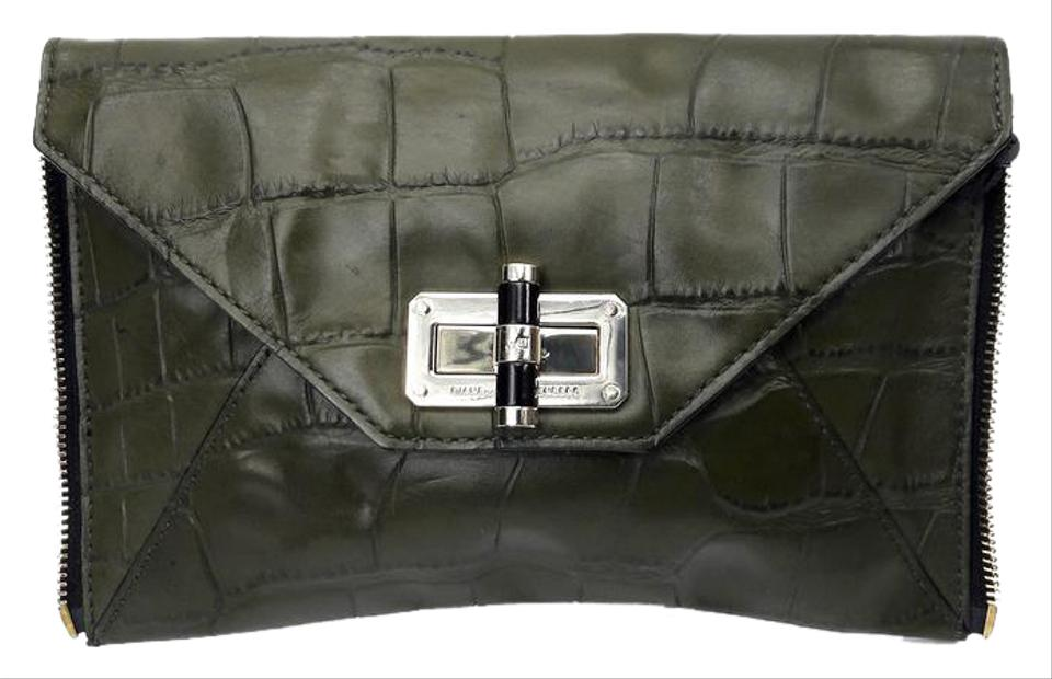 bc0e0097409aa Diane von Furstenberg 'secret Agent' Zip-on Olive Crocodile Embossed ...