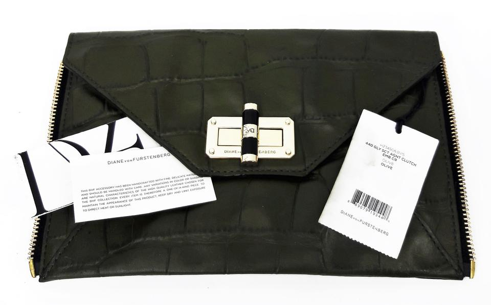 7ef892cfe99e5 Diane von Furstenberg 'secret Agent' Zip-on Olive Crocodile Embossed  Leather Clutch - Tradesy