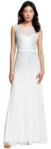 Adrianna Papell Sequin Beaded Illusion Dress