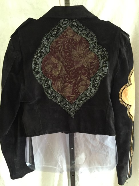 Gabriela Appliqued Suede Embroidered Motorcycle Jacket