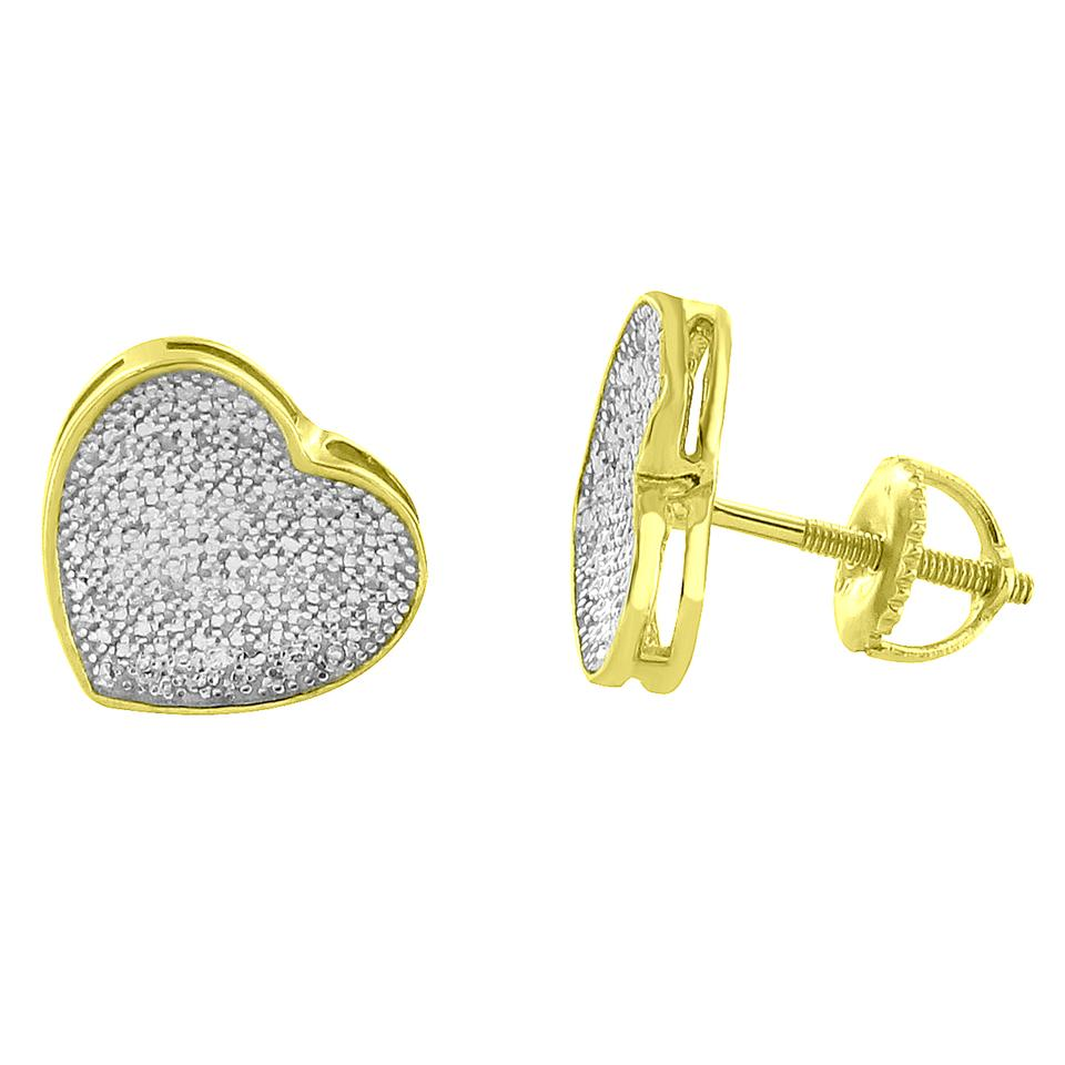 Master Of Bling Sterling Silver Cz Heart Women 14k Yellow Gold Finish Over 925 10mm