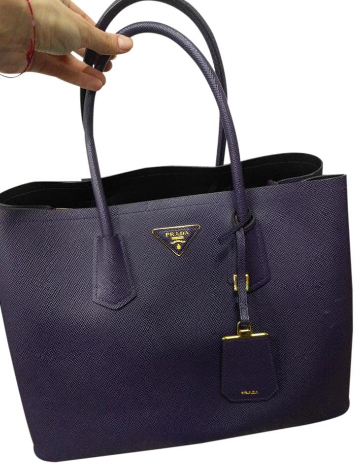 793cc324c7ce Prada Large Saffiano Cuir Purse Purple Leather Tote - Tradesy