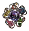 Other Flower Costume Jewelry Brooch w Colorful Rhinestones