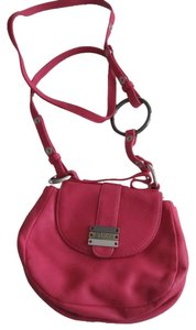 Diesel Fuschia Leather Silver Accents Snap Close Cross Body Shoulder Bag