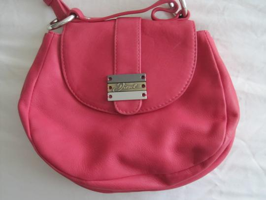 Diesel Fuschia Leather Silver Accents Snap Close Cross Body Shoulder Bag Image 1