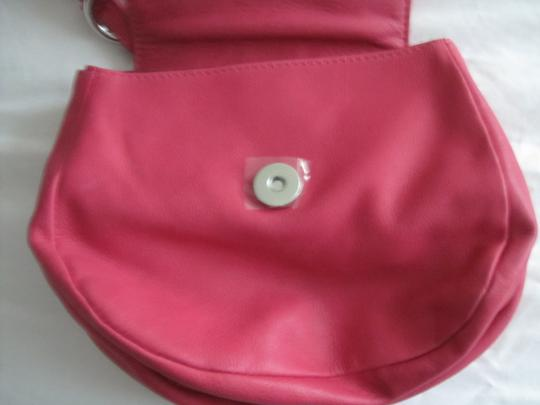 Diesel Fuschia Leather Silver Accents Snap Close Cross Body Shoulder Bag Image 3