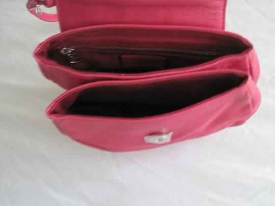 Diesel Fuschia Leather Silver Accents Snap Close Cross Body Shoulder Bag Image 4
