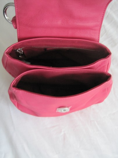 Diesel Fuschia Leather Silver Accents Snap Close Cross Body Shoulder Bag Image 5