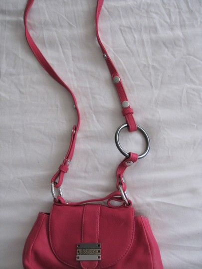 Diesel Fuschia Leather Silver Accents Snap Close Cross Body Shoulder Bag Image 7