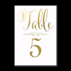 Zazzle White + Gold Foil Lettering Wedding Table Number Cards - Tables 1-15