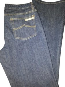 Michael Kors Vintage Look Designer Denim Boot Cut Jeans-Dark Rinse