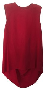 Alice + Olivia Cowl-back Silk Open Back Top Red