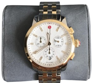 Michele $1500 NWT Uptown Diamond Dial Two Tone gold/ silver Watch MWW25A000002