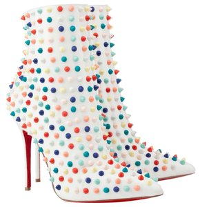 Christian Louboutin High Heels Ankle Spikes Studs Snakilta White Multi Boots