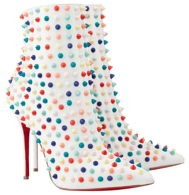 Item - White Multi Snakilta Leather Spike Ankle Lady Fashion High Heel Zip Red Sole Italy Boots/Booties Size EU 40.5 (Approx. US 10.5) Regular (M, B)