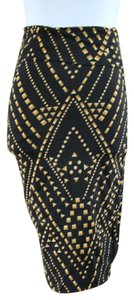 Lily White Patterned Black And Gold Pencil Fun Skirt