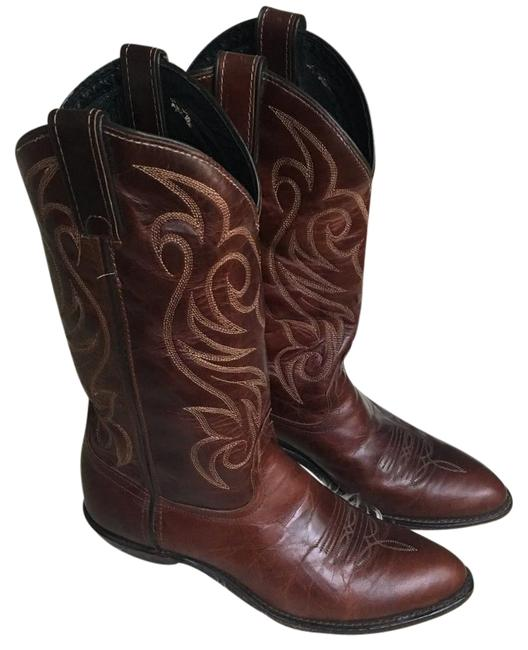 Item - Vintage Western Brown Leather Cowboy Cowgirl Boots/Booties Size US 7 Regular (M, B)