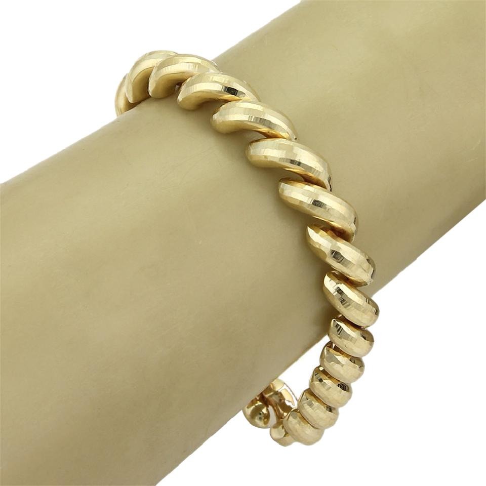 Yellow Gold 20846 Italy Faceted Style Macaroni 14k Bracelet - Tradesy