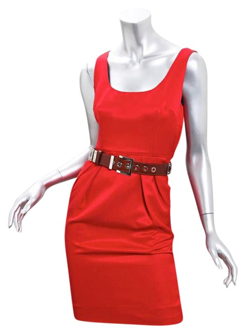 Item - Red Sleeveless Belted Scoopneck Sheath Mini Short Casual Dress Size 4 (S)