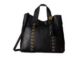 Emma Fox Pallas Grommet Leather Satchel in Black gold