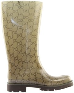 Gucci 248516 Rainboot Rainboot Rubber Beige and Brown GG Boots