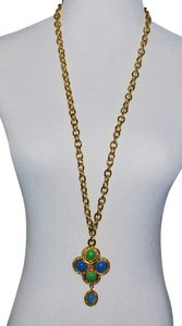 Chanel Authentic Chanel Vintage Blue Green Gripoix Glass Necklace Rare