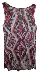 J. Jill Summer Women's Linen Chic Top Coral Pink, brown, off white print
